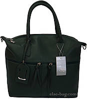 Темно-зеленая мягкая женская сумка