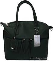 Темно-зеленая мягкая женская сумка , фото 1