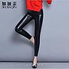 Женские стильные кожаные лосины с кружевами на тонком флисе Арт.CZ903