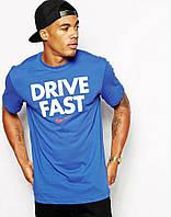 Яркая стильная футболка c принтом синяя  DRIVE FAST