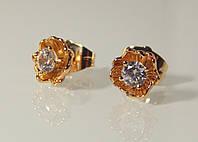 Серьги-гвоздики ювелирная бижутерия позолота 4-030