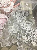 Тюль кремовая,фатин корона с орнаментом