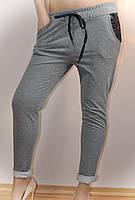 Штаны женские, серые, с карманами в паетки, фото 1