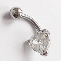 """Для пирсинга пупка """"Сердце"""". Медицинская сталь, прозрачный хрусталь."""