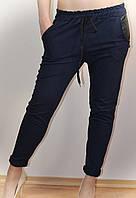 Штаны женские, темно-синие, карман-кожа