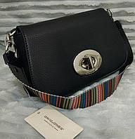 Сумка-клатч через плечо David Jones с цветной ручкой черная