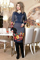 Нарядное Платье на Весну Большого Размера с Красными Цветами р.48 - 56