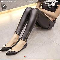 Женские стильные кожаные лосины с змейкой Арт.CZ804