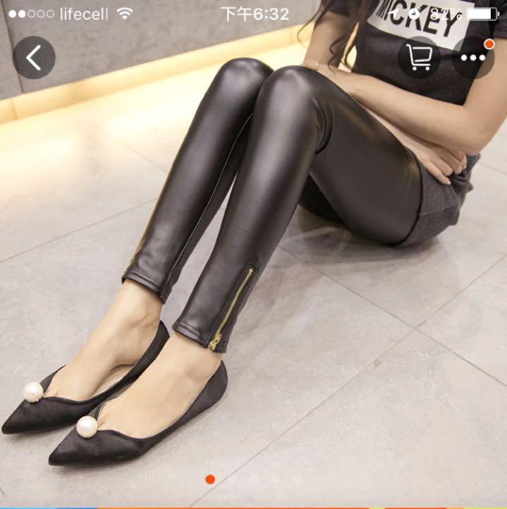 Женские стильные кожаные лосины на тонком флисе с змейкой Арт.CZ907