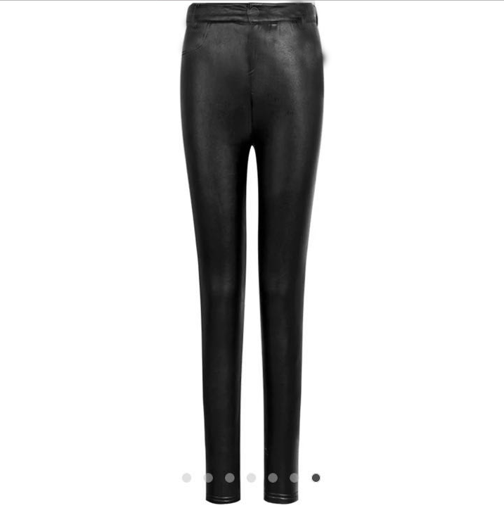 Женские классические кожаные лосины на флисе Арт.CZ910