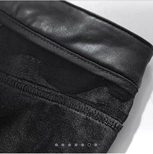Женские стильные кожаные лосины с кружевами на тонком флисе Арт.CZ903, фото 2