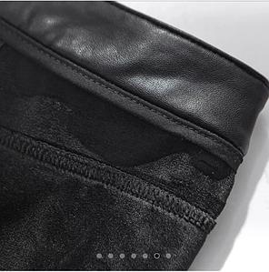 Женские классические кожаные лосины на тонком флисе Арт.CZ901, фото 2