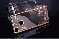 TPU чехол со стразами для Huawei Ascend P9 розовый и золотистый