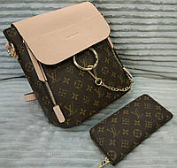 Женский брендовый рюкзак Louis Vuitton Луи Виттон коричневый