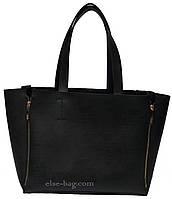 Женская черная сумка-шоппер