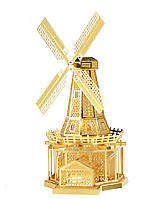 3D металлический конструктор Ветряная мельница (золото), фото 1