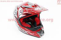 Шлем кроссовый HF-117 S-красный