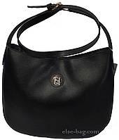 Черная сумка-мешок через плечо из эко кожи