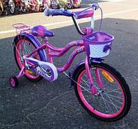 Детский велосипед Azimut Kiddy 16 дюймов для девочки от 4 лет до 7 лет розовый