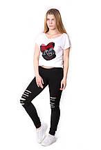 Леггинсы - Лосины порезы - порезами с декором стразы из дайвинга купить женские молодежные 42,44,46,48 черные
