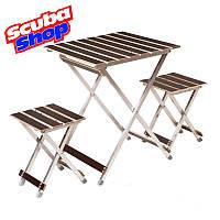 Комплект из стола и 2-х стульев «ALUWOOD малый»