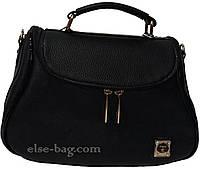 Женская сумка черная через плечо в виде бочонка