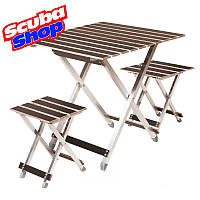 Комплект из стола и 2-х стульев «ALUWOOD большой»