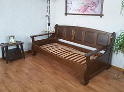 """Деревянный диван кровать """"Ян Марти - 3"""". Массив дерева - ольха, покрытие - """"лесной орех"""" (№ 44). 1"""