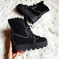 Черные ботинки на тракторной подошве  со шнуровкой