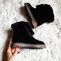 Черные женские замшевые ботинки со шнуровкой и опушкой