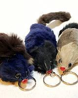 Прикольный Брелок Оригинальный Меховой Сувенир Мышка с Пищалкой
