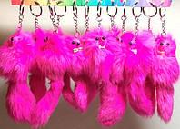 Прикольный Брелок Оригинальный Меховой Сувенир Розовая Зверушка