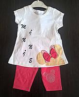 """Комплект """"Минни блестки"""" для девочки. Футболка+шорты (2-5 лет)"""
