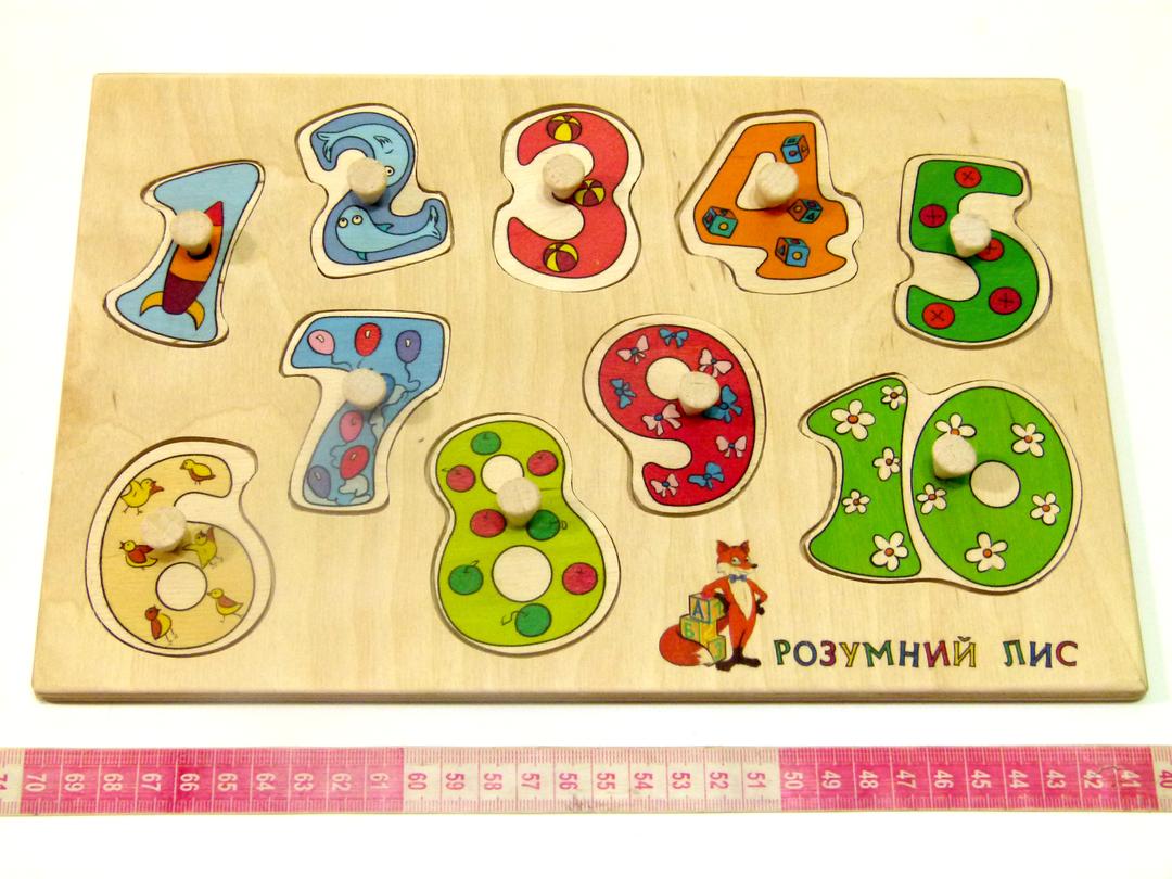 Деревянная игрушка вкладыши Цифры Считаем до 10. Розумний Лис (90034)