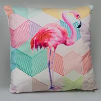 Декоративная наволочка Геометрический фламинго 45х45 см