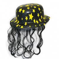 Шляпа Котелок Пластик с волосами