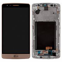 Дисплей (экран) для LG G3s D724 с сенсором (тачскрином) и рамкой золотой