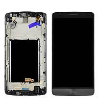 Дисплей (экран) для LG G3s D724 с сенсором (тачскрином) и рамкой серый