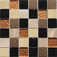 Мозаика микс камень стекло Ugonovaro Mix Bronze