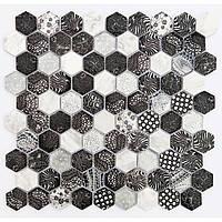 Мозаика декоративная из камня Vivacer SB02 черно-белая