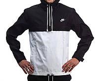 Черно-белый анорак (куртка, ветровка) Nike (опт и розница)