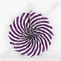 Подвесной веер, фиолетово-белый, 20 см - бумажный декор-розетка