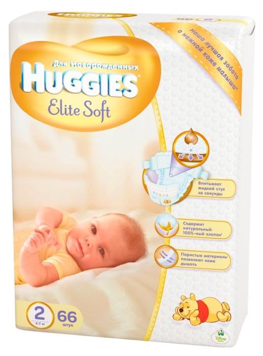 Подгузник Хаггис Elite Soft 2(4-7кг) 66 шт.