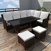Обідній набір садових меблів: кутовий диван + пуфи + стіл коричневий