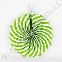Подвесной веер, салатово-белый, 40 см - бумажный декор-розетка