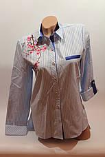 """Женские рубашки полоска с вышивкой """"Сакура"""" оптом VSA светло-голубой, фото 3"""