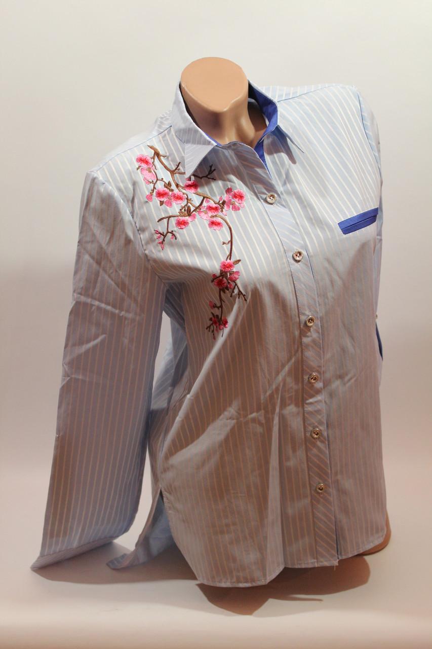 """Женские рубашки полоска с вышивкой """"Сакура"""" оптом VSA светло-голубой"""