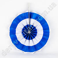 Подвесной веер, бело-синий, 30 см - бумажный декор-розетка