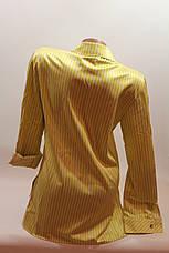 """Женские рубашки полоска с вышивкой """"Сакура"""" оптом VSA лимонный, фото 3"""