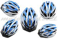 Шлем велосипедный кросс-кантри size:M бело-синий VV